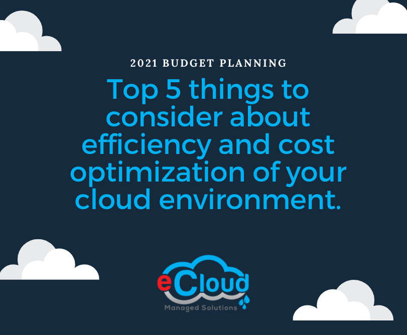 Top 5 things to consider about efficiency and cost optimization of your cloud environment.