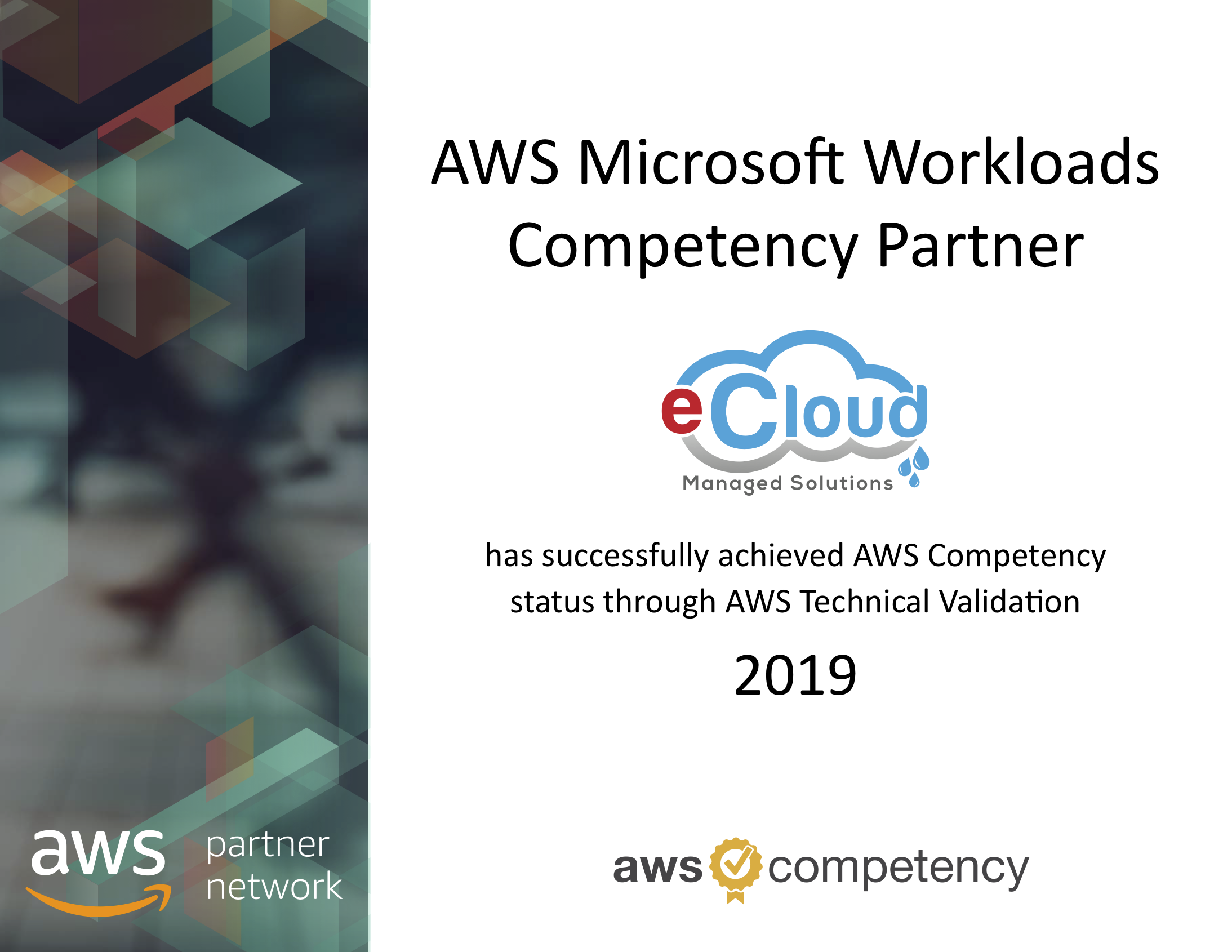 eCloud achieves Microsoft Workloads Competency on AWS